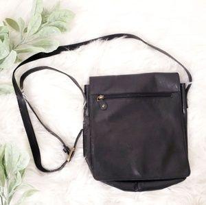 Vintage Black Crossbody Satchel Saddle Bag Purse